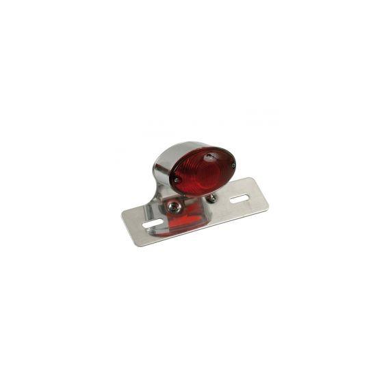 Fanale posteriore cateye medium cromato lente rossa