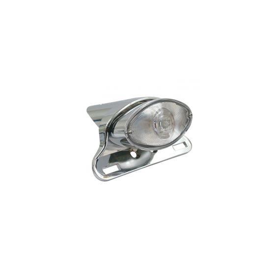Fanale posteriore cateye cromato lente trasparente led