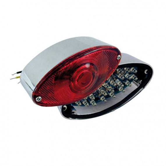 Fanale posteriore cateye cromato lente rossa led