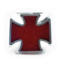 Fanale posteriore maltese cross cromato lente rossa
