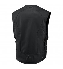 Gilet Icon Stripped D30 in pelle nero