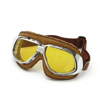 Maschera moto Bandit classic marrone lente gialla