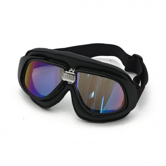 Maschera moto Bandit classic nera lente iridium