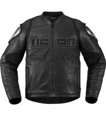 Giubbotto moto Icon Timax in pelle nera