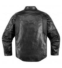 Giubbotto moto Icon 1000 Retrograde in pelle nera