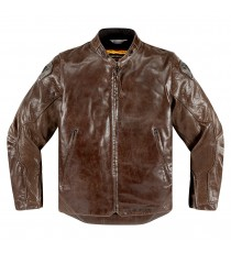 Giubbotto moto Icon 1000 Retrograde in pelle marrone