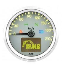 Contachilometri Elettronico MMB Ultra Mini Basic Cromato Sfondo Bianco