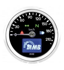 Contachilometri Elettronico MMB Ultra Mini Basic Cromato Sfondo Nero