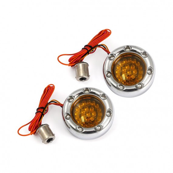 Frecce moto Led Posteriori Bullet Ringz Amber Lens