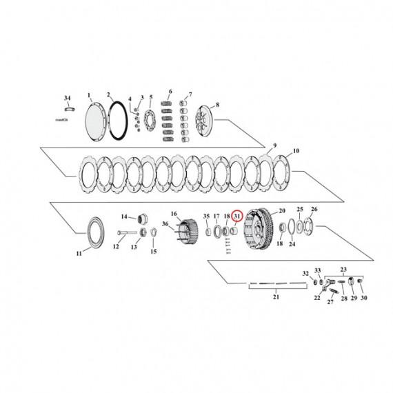 Cuscinetto interno mozzo frizione Harley Davidson XL Sportster 1967 – 1970