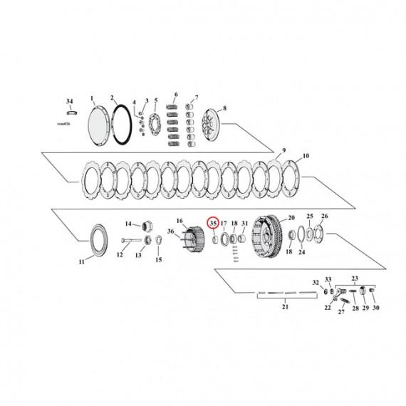 Distanziale cuscinetto mozzo frizione Harley Davidson XL Sportster 1954 – 1969