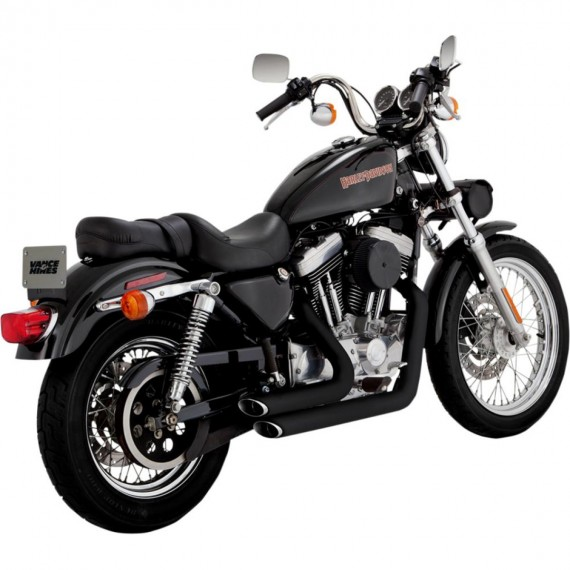 Shortshots Staggered Black XL Sportster 1999 - 2003